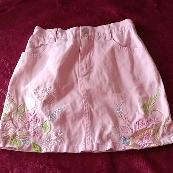 Barbie pink denim skirt 6x